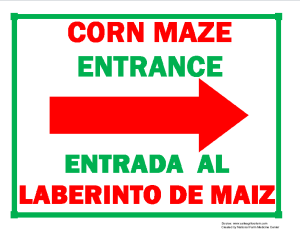 Corn Maze Entrance (Right Arrow) Sign